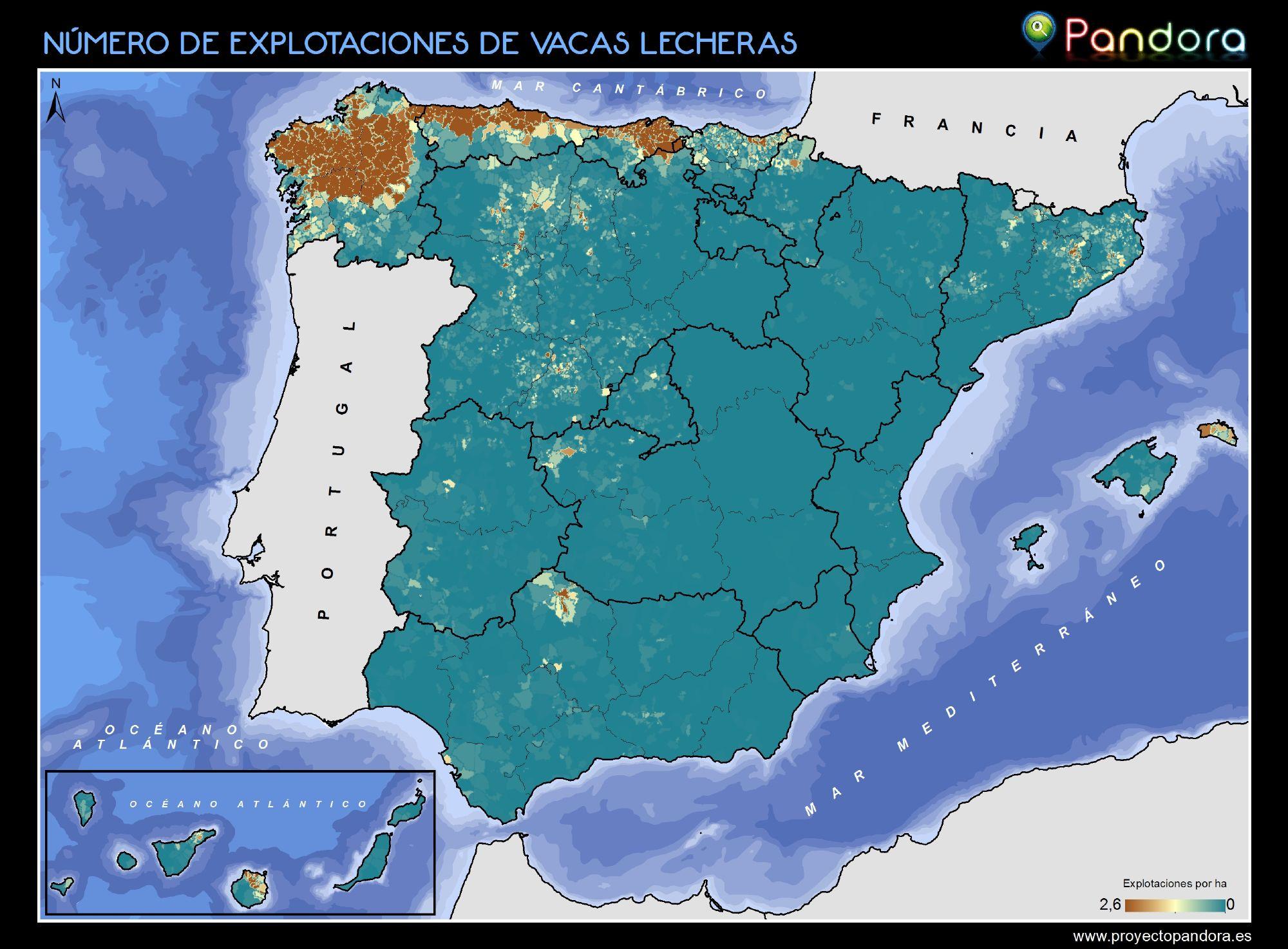 NÚMERO DE EXPLOTACIONES DE VACAS LECHERAS EN ESPAÑA